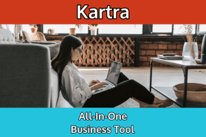 A woman using Kartra on her laptop