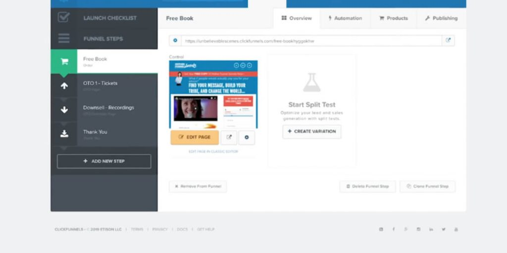 The sales funnel and page builder